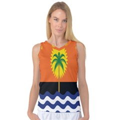 Coconut Tree Wave Water Sun Sea Orange Blue White Yellow Green Women s Basketball Tank Top