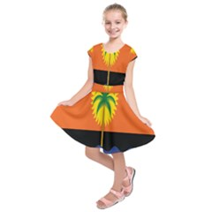 Coconut Tree Wave Water Sun Sea Orange Blue White Yellow Green Kids  Short Sleeve Dress