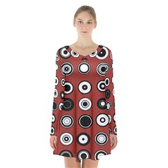 Circles Red Black White Long Sleeve Velvet V Neck Dress