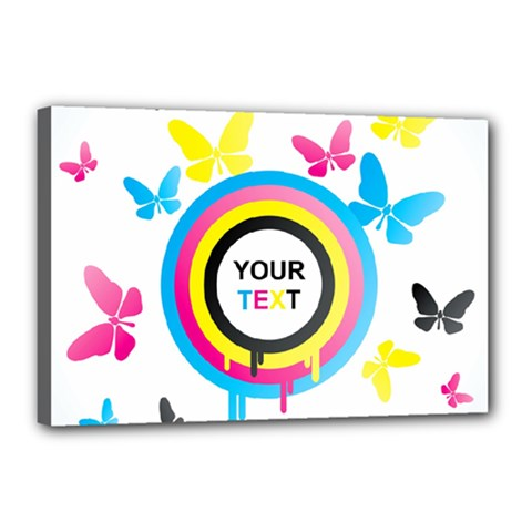 Colorful Butterfly Rainbow Circle Animals Fly Pink Yellow Black Blue Text Canvas 18  X 12  by Alisyart