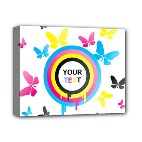 Colorful Butterfly Rainbow Circle Animals Fly Pink Yellow Black Blue Text Deluxe Canvas 14  X 11  by Alisyart