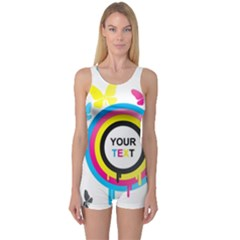 Colorful Butterfly Rainbow Circle Animals Fly Pink Yellow Black Blue Text One Piece Boyleg Swimsuit
