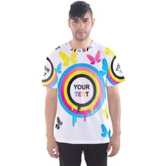 Colorful Butterfly Rainbow Circle Animals Fly Pink Yellow Black Blue Text Men s Sport Mesh Tee