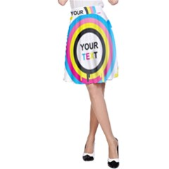 Colorful Butterfly Rainbow Circle Animals Fly Pink Yellow Black Blue Text A Line Skirt