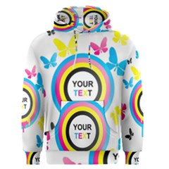 Colorful Butterfly Rainbow Circle Animals Fly Pink Yellow Black Blue Text Men s Pullover Hoodie