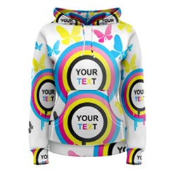 Colorful Butterfly Rainbow Circle Animals Fly Pink Yellow Black Blue Text Women s Pullover Hoodie