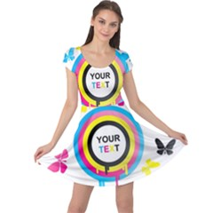 Colorful Butterfly Rainbow Circle Animals Fly Pink Yellow Black Blue Text Cap Sleeve Dresses
