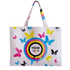 Colorful Butterfly Rainbow Circle Animals Fly Pink Yellow Black Blue Text Zipper Mini Tote Bag