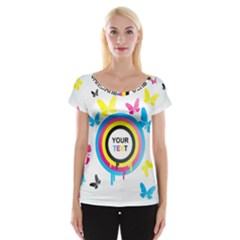 Colorful Butterfly Rainbow Circle Animals Fly Pink Yellow Black Blue Text Women s Cap Sleeve Top