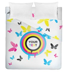 Colorful Butterfly Rainbow Circle Animals Fly Pink Yellow Black Blue Text Duvet Cover Double Side (queen Size)