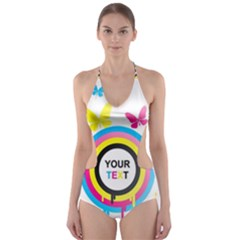 Colorful Butterfly Rainbow Circle Animals Fly Pink Yellow Black Blue Text Cut Out One Piece Swimsuit