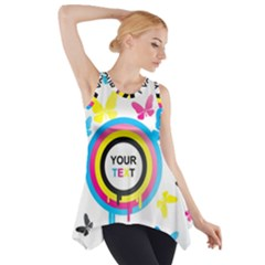 Colorful Butterfly Rainbow Circle Animals Fly Pink Yellow Black Blue Text Side Drop Tank Tunic