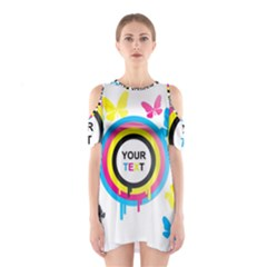 Colorful Butterfly Rainbow Circle Animals Fly Pink Yellow Black Blue Text Shoulder Cutout One Piece