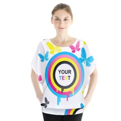 Colorful Butterfly Rainbow Circle Animals Fly Pink Yellow Black Blue Text Blouse