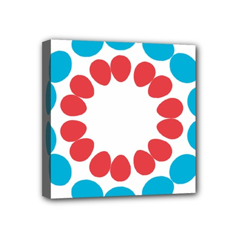 Egg Circles Blue Red White Mini Canvas 4  X 4