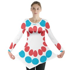 Egg Circles Blue Red White Long Sleeve Tunic