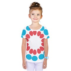 Egg Circles Blue Red White Kids  One Piece Tee