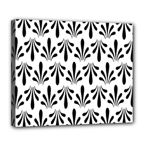 Floral Black White Deluxe Canvas 24  X 20