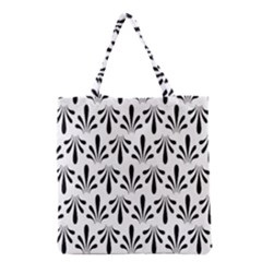 Floral Black White Grocery Tote Bag