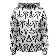 Floral Black White Women s Pullover Hoodie