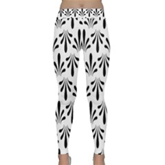 Floral Black White Classic Yoga Leggings by Alisyart