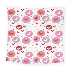 Crafts Chevron Cricle Pink Love Heart Valentine Square Tapestry (large) by Alisyart