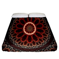 Circles Shapes Psychedelic Symmetry Fitted Sheet (queen Size) by Alisyart