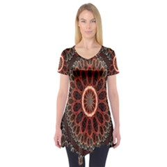 Circles Shapes Psychedelic Symmetry Short Sleeve Tunic