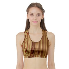 Circles Figure Light Gold Sports Bra With Border