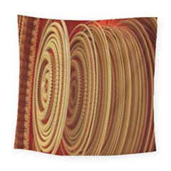 Circles Figure Light Gold Square Tapestry (large)