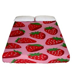 Fruitb Red Strawberries Fitted Sheet (queen Size)