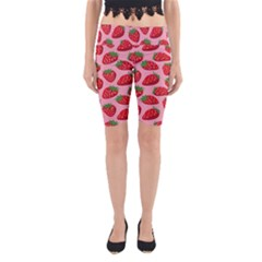 Fruitb Red Strawberries Yoga Cropped Leggings