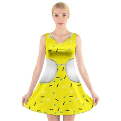 Glasses Yellow V Neck Sleeveless Skater Dress