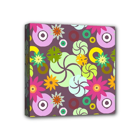 Floral Seamless Rose Sunflower Circle Red Pink Purple Yellow Mini Canvas 4  X 4