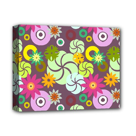 Floral Seamless Rose Sunflower Circle Red Pink Purple Yellow Deluxe Canvas 14  X 11  by Alisyart
