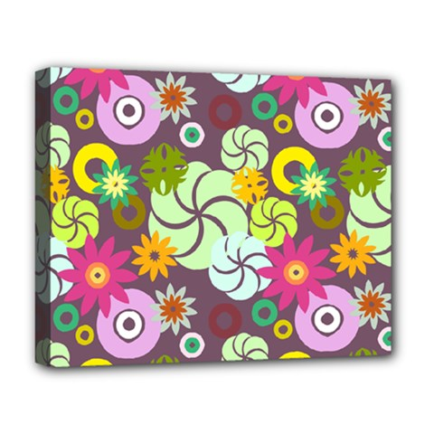 Floral Seamless Rose Sunflower Circle Red Pink Purple Yellow Deluxe Canvas 20  X 16