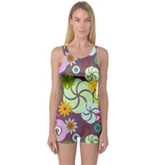 Floral Seamless Rose Sunflower Circle Red Pink Purple Yellow One Piece Boyleg Swimsuit