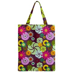 Floral Seamless Rose Sunflower Circle Red Pink Purple Yellow Classic Tote Bag by Alisyart