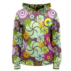 Floral Seamless Rose Sunflower Circle Red Pink Purple Yellow Women s Pullover Hoodie