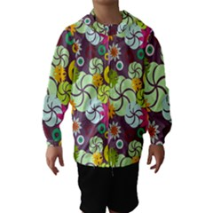 Floral Seamless Rose Sunflower Circle Red Pink Purple Yellow Hooded Wind Breaker (kids)