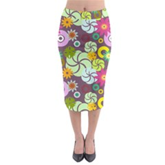 Floral Seamless Rose Sunflower Circle Red Pink Purple Yellow Midi Pencil Skirt