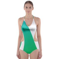 Line Green Wave Cut Out One Piece Swimsuit