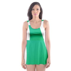 Line Green Wave Skater Dress Swimsuit