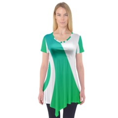 Line Green Wave Short Sleeve Tunic