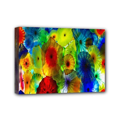 Green Jellyfish Yellow Pink Red Blue Rainbow Sea Mini Canvas 7  X 5  by Alisyart