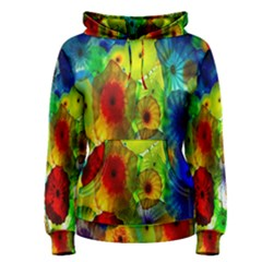 Green Jellyfish Yellow Pink Red Blue Rainbow Sea Women s Pullover Hoodie