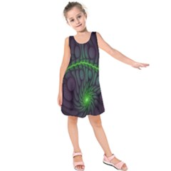 Light Cells Colorful Space Greeen Kids  Sleeveless Dress
