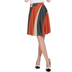 Mixing Gray Orange Circles A Line Skirt