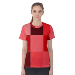 Red Flag Plaid Women s Cotton Tee