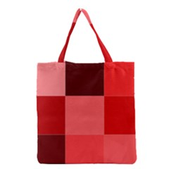 Red Flag Plaid Grocery Tote Bag by Alisyart